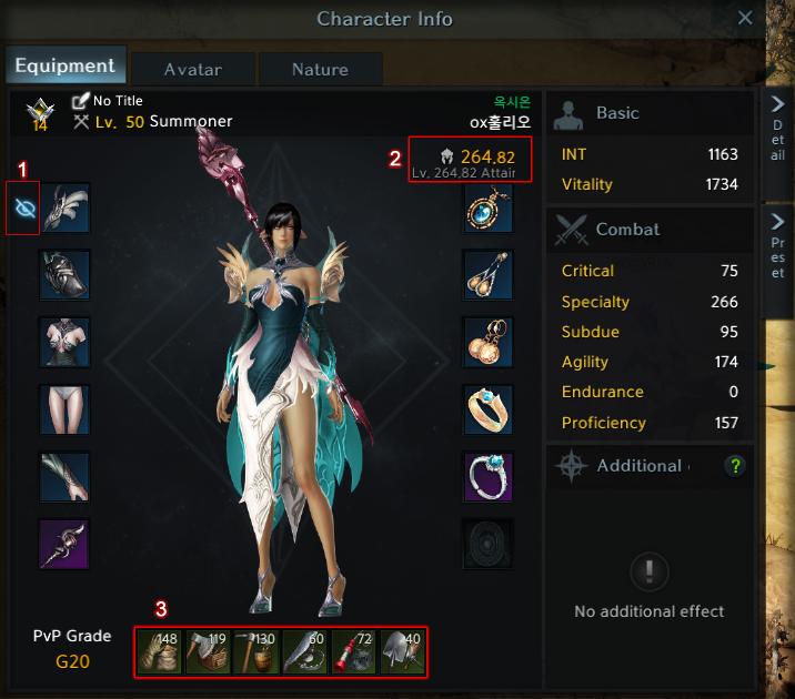 キャラクター情報画面